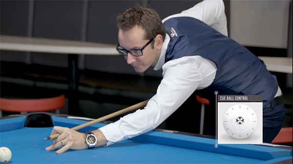 Florian's 10 ball break set up has a slightly angled stick with a hit just above center on the cue ball
