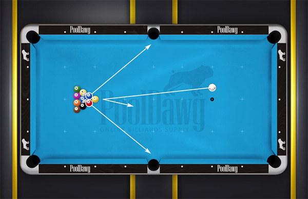 Diagram showing the 10 ball break set up needed to make the 2 or 3 ball in one of the side pockets