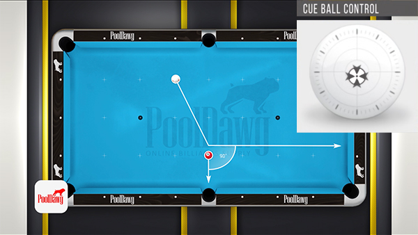 Using the perpendicular natural tangent line, Florian predicts his cue ball should hit the end rail near the first diamond