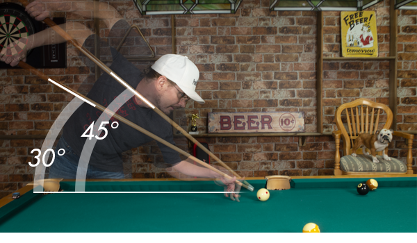 Pool cue elevation for massé shots