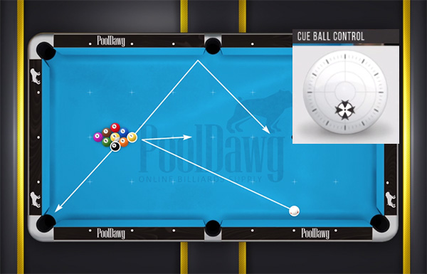 Head and wing ball predicted paths in 9-Ball when breaking close to the rail with a bottom hit on the cue ball