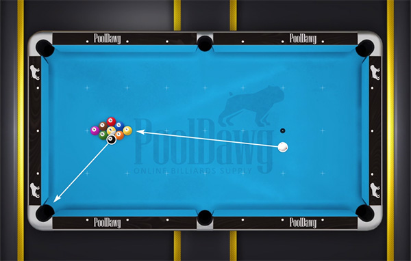 "Moving the cue ball towards the center of the table will bring the wing ball's path ""higher"" and into the corner pocket"