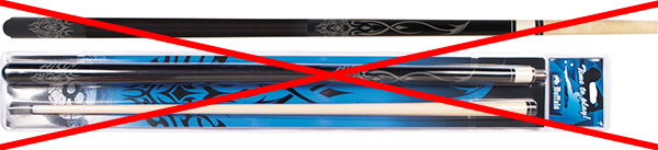 "Pool cue shown in the ""blister"" see-through plastic packaging that would indicate poor quality."
