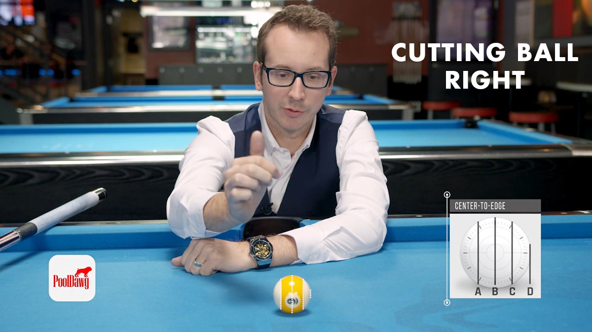 Florian explains how the object ball is divided for the CTE aiming system for cut shots going right.