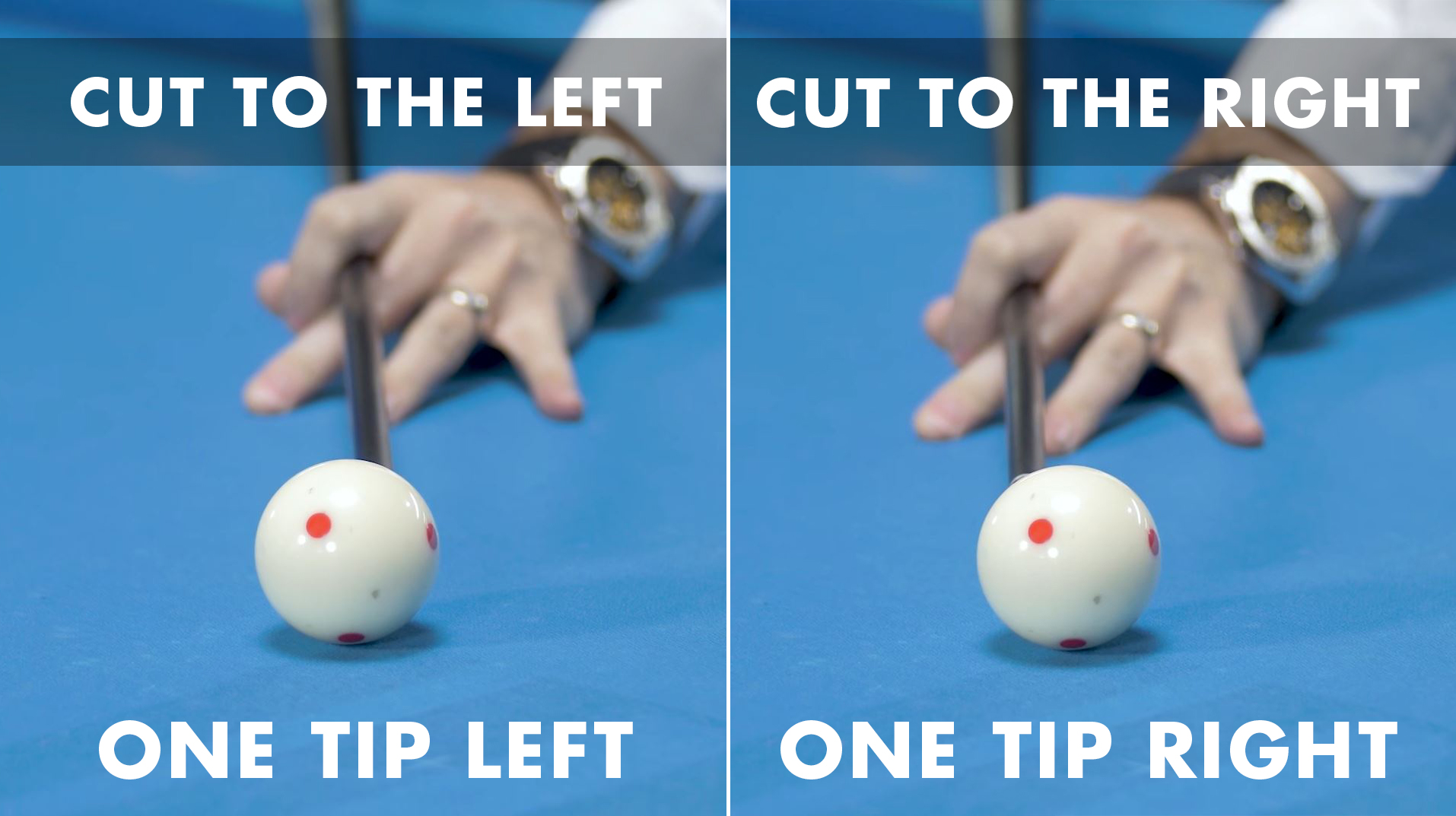CTE aiming requires planting your bridge hand with one tip of left spin for left cut shots or one tip of right if cutting to the right.