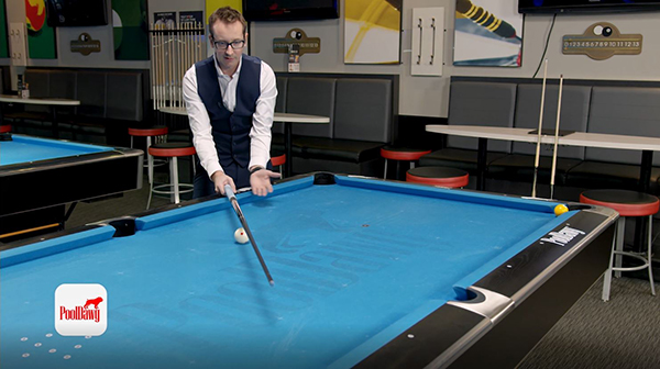 Florian uses his cue to visualize the lines needed to calculate his departure value