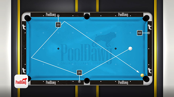 After making the 5 point adjustment to the calculated value, Florian has calculated the exact aim point needed to make his three-rail kick