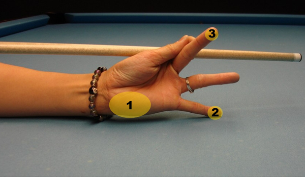 Closed hand billiard bridge step four