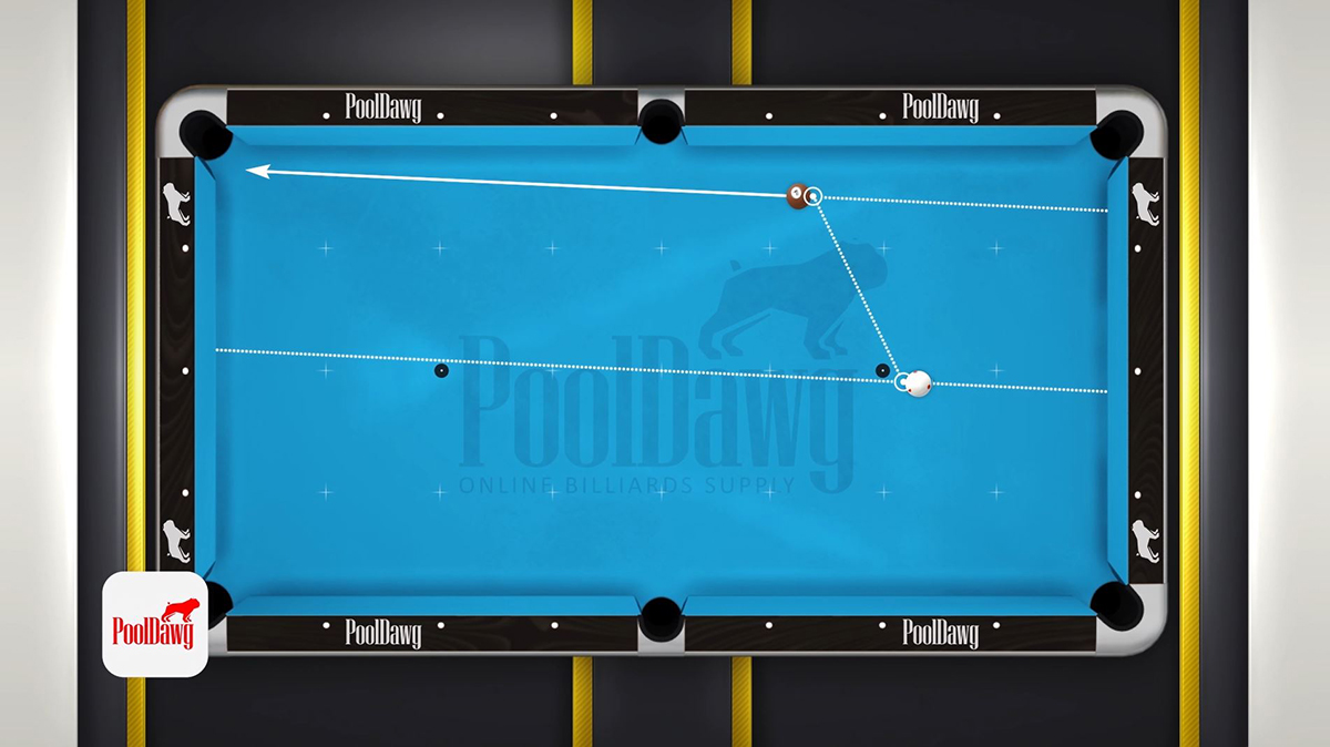 The line connecting the two parallel lines at the contact points will be the path the cue ball should follow. Example two.