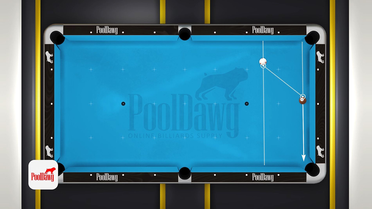 The line connecting the two parallel lines at the contact points will be the path the cue ball should follow. Example Three.