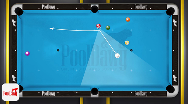 Allowing the cue ball to roll forward after shooting the two will leave you in the zone for the three