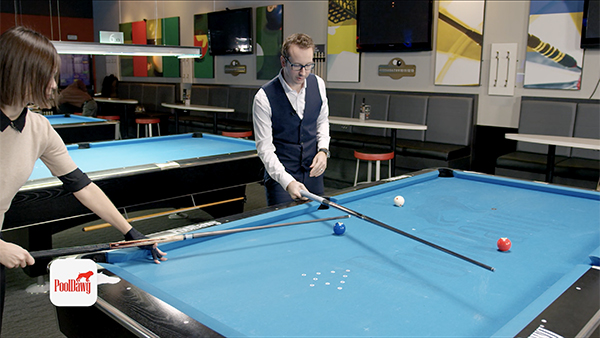 "Pool cues used to show ""Tangent line"" where cue ball with roll perpendicular to the path of the object ball"