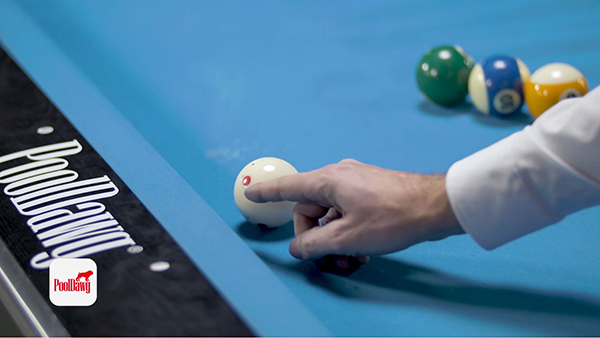 For this jump shot, Florian says the proper contact point should be just above the center of the cue ball