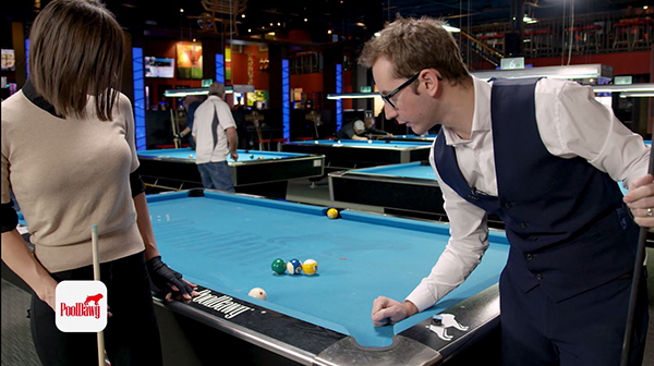 Florian shows that you can still make proper contact if the cue ball is against the rail