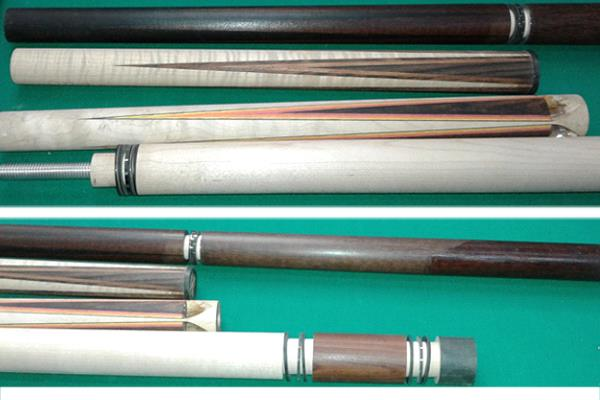 Custom pool cue construction process shows some of the steps that go into building high-end pool cues.