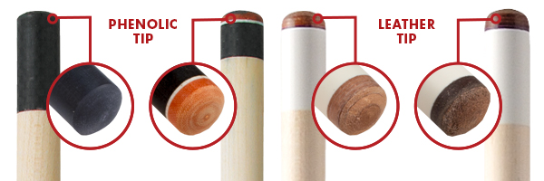 Pool Cue Tip Comparison Diagrams