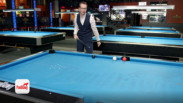 Florian's shot comes up well short of hitting the object ball after kicking the cue ball off his aiming point and misses the shot