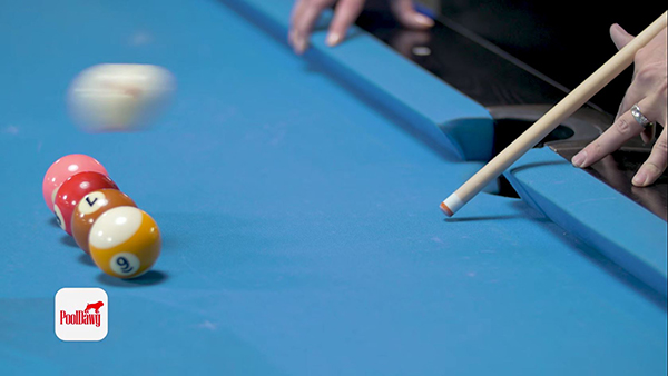 With a short, punching stroke, the cue ball can be effortlessly jumped over any blockers