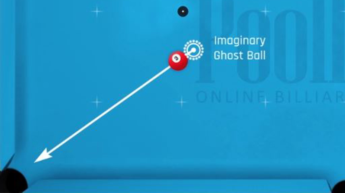 """The """"ghost ball"""" is an imaginary ball that the shooter is trying to hit full with the cue ball. It sits in line with the point of aim on the object ball that goes to the pocket."""