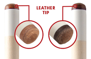 Close up image of the pool cue tips shows the difference between a layered and pressed leather tip.