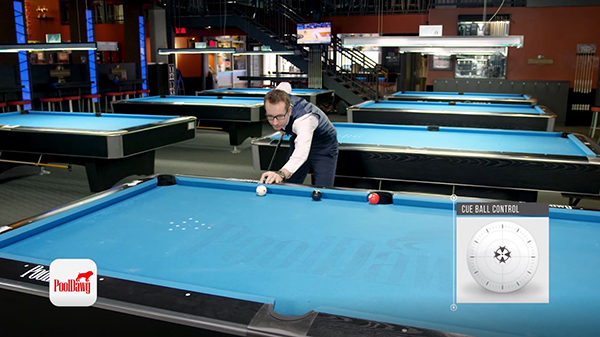 Florian uses mirror kicking/banking system splitting the difference in distance between cue ball and object ball, aiming his shot at the diamond in the middle.