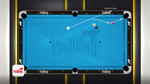 Diagram shows mirroring the measured line over the channel finds his point of aim on the table to make the shot
