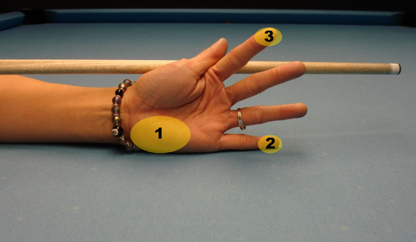 Open hand billiard bridge step five
