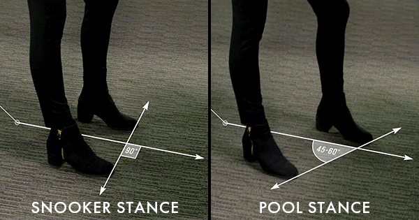 showing a perpendicular snooker stance verses the ideal staggered stance for pool