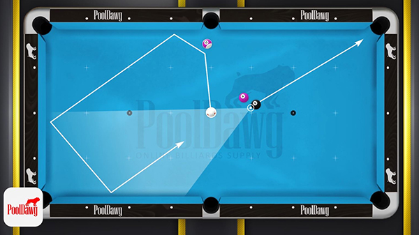 Making the 12, and going 3 rails with your cue ball will allow the ball to come into the zone, rather than across it.