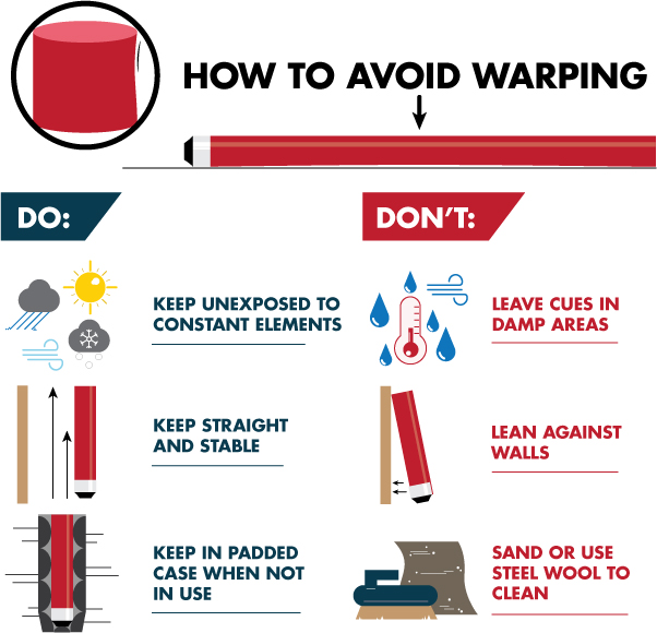 Infographic showing how to avoid warping of a pool cue do's and don'ts