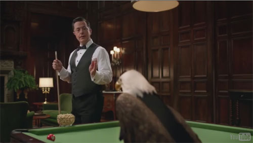 Colbert + Pistachios = Billiards Awesomeness?